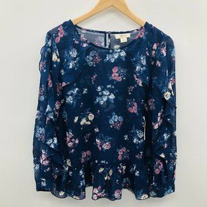 Style & Co Ruffled 3/4 Sleeve Floral Blouse 376
